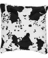 2x fluwelen kussen met koeienprint 47 x 47 cm