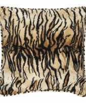 2x fluwelen kussen met tijgerprint 47 x 47 cm