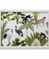 2x schootkussens laptrays jungle wit met aap luipaard vogel print 33 x 43 cm