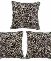3x polyester woonkussentjes luipaard print 45 x 45 cm