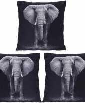 3x polyester woonkussentjes olifant print 45 x 45 cm