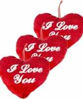 3x stuks rood hartjes kussen i love you 13 cm