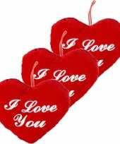 3x stuks rood hartjes kussen i love you 22 cm