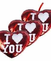 3x stuks woondecoratie hartjes kussens rood zilver metallic met pailletten 20 cm