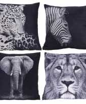 4x polyester woonkussentjes olifant leeuw luipaard zebra print 45 x 45 cm