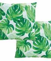 4x stuks bank kussentjes tropische bladeren woondecoratie cadeau