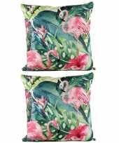 4x stuks bank sier kussens met flamingo bloemenprint voor binnen en buiten 45 x 45 cm tuinkussens vo