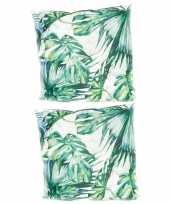 4x stuks bank sier kussens met monstera plant bladeren print voor binnen en buiten 45 x 45 cm tuinku