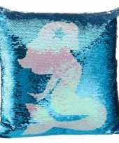 Bank kussentje zeemeermin pailletten 40 x 40 cm woondecoratie cadeau