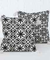 Bank kussentjes set sevilla wit zwart woondecoratie cadeau 45 x 45 cm