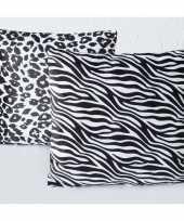Bank kussentjes zebra en luipaard woondecoratie cadeau 45 x 45 cm