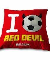 Belgie voetbal sierkussen bankkussen rode duivels 34 x 34 cm