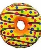 Decoratie kussentje donut geel 38 cm