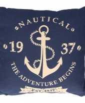 Katoenen marine kussen blauw 40 x 40 cm