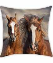 Paarden ponys sierkussen bankkussen 40 x 40 cm dierenprint