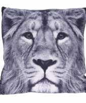 Polyester woonkussentje leeuw print 45 x 45 cm