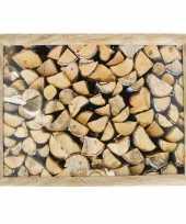 Schootkussen laptray openhaard hout print 43 x 33 cm