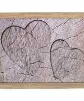 Set van 2 schootkussens laptrays boomstam hout hartjes print 33 x 43 cm