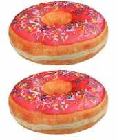 Set van 2x stuks sprinkels donut kussens roze 40 cm