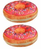 Set van 3x stuks sprinkels donut kussens roze 40 cm