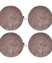 Set van 8x stuks boomstronkschijf boomschijf kussens 40 cm woonaccessoires