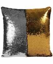 Sierkussen pailletjes zilver met goud 40 cm