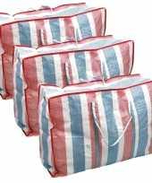 Voordeelset 6x deken kussen opbergtas raffia gestreept 80 x 31 x 60 cm