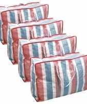Voordeelset 8x deken kussen opbergtas raffia gestreept 80 x 31 x 60 cm
