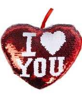 Woondecoratie hartjes kussens rood zilver metallic met pailletten 20 cm