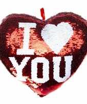 Woondecoratie hartjes kussens rood zilver metallic met pailletten 35 cm 10243453