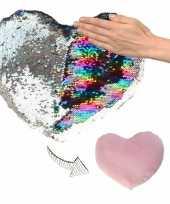 Woondecoratie hartjes kussens zilver roze metallic met pailletten 50 cm