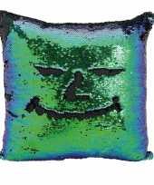 Woondecoratie kussens blauw groen zwart metallic met pailletten 40 cm