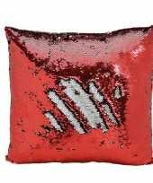 Woondecoratie wrijf kussens rood zilver metallic met pailletten 40 cm